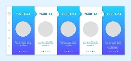Electronic commerce onboarding vector template. Responsive mobile website with icons. Web page walkthrough 5 step screens. Online marketplace. Ecommerce business color concept with copy space