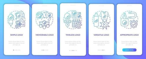 Logo design basis onboarding mobile app page screen with concepts. Simple, memorable logo walkthrough 5 steps graphic instructions. UI, UX, GUI vector template with linear color illustrations