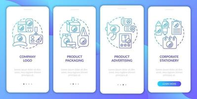 Corporate brand identity onboarding mobile app page screen with concepts. Logo, packaging walkthrough 4 steps graphic instructions. UI, UX, GUI vector template with linear color illustrations