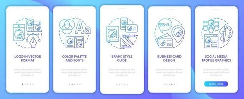 Company branding services onboarding mobile app page screen with concepts. Logo in vector format walkthrough 5 steps graphic instructions. UI, UX, GUI vector template with linear color illustrations