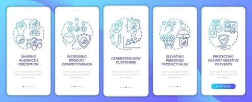 Powerful brand onboarding mobile app page screen with concepts. Shaping audience perception walkthrough 5 steps graphic instructions. UI, UX, GUI vector template with linear color illustrations