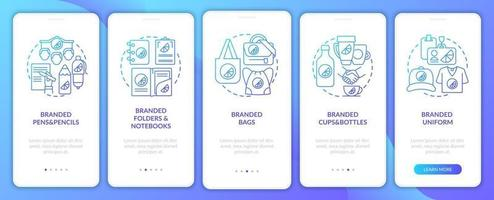 Corporate identity onboarding mobile app page screen with concepts. Branded bags, pens walkthrough 5 steps graphic instructions. UI, UX, GUI vector template with linear color illustrations