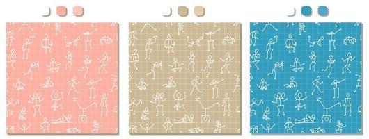 patrón transparente de vector rosa, beige, azul, blanco con cuerpos de personas dibujadas a mano en diferentes poses sobre fondo cuadrado matemático para papel o textil. conjunto de tres variantes del mismo dibujo