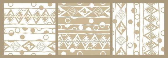Three variants of abstract  seamless pattern with random rough, twisted part of triangles or broken lines, circles shapes. White and beige colors vector
