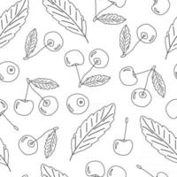 Black white vector outline doodle cartoon seamless pattern of cherry isolated set. Hand drawn design illustration, pencil effect
