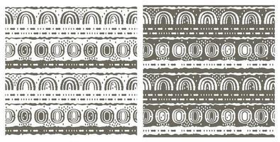 conjunto de dos mismos patrones sin fisuras. óvalos, semicírculos, arco iris, líneas, puntos, círculos y otras formas. ásperas líneas curvas grises y blancas, efecto de emulación dibujado a mano vector