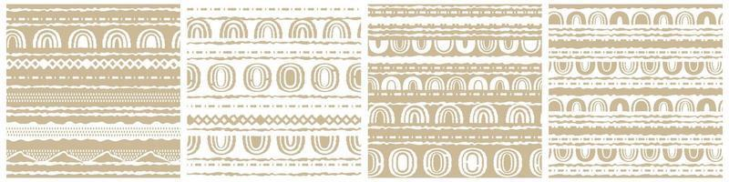 Set of four winter vector White and Beige horizontal Seamless border repeat patterns with random rough, twisted part of triangles or broken lines, part of circles shapes, rainbows. Hand drawn effect