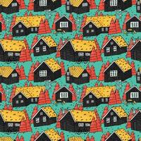 Canadian and scandinavian black wooden houses with grass on the roof white windows and pink christmas trees vector hand drown seamless repeat pattern