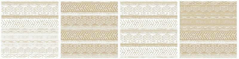 Set of four winter vector White and Beige horizontal Seamless border repeat patterns with random rough, twisted part of triangles or broken lines, part of circles shapes. Hand drawn effect