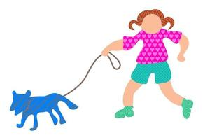 Young Girl Walking the Dog vector