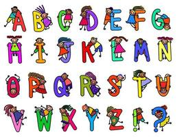Cute Doodle Kids Alphabet vector