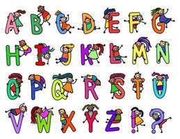 Happy Stick Kids Alphabet vector
