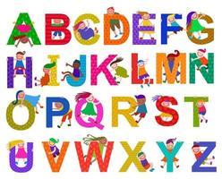 Cute Kids Alphabet Letters vector