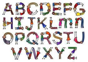 Bendy Kids Alphabet Letters vector