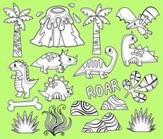 Dinosaur Coloring Elements vector