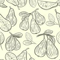 Pear sketch seamless pattern vector