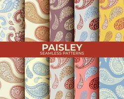 Paisley Seamless Patterns Set vector