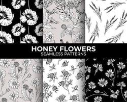 Honey flowers modern seamless patterns collection for fabric textile design and sublimation. vector