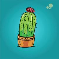 illustration of a cactus plant in a small pot . vector