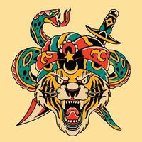 tattoo art design head tiger with snake vector