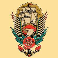 tattoo art design eagle with red rose vector