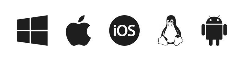 iconos de sistemas operativos linux windows android mac ios iconos vector