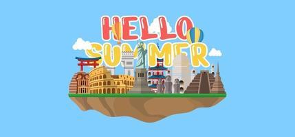 Hand draw illustration of Summer greeting banner. vector