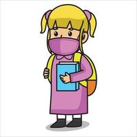Girl using  pink dress after school ,holding a book.using mask and healthy protocol.Character illustration. vector