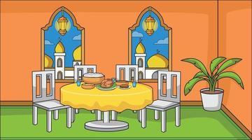 familia musulmana de fondo religiosa en el comedor mientras que la fiesta de iftar y mucha comida. musulmán de linterna ramadán con plantas decorativas. ilustración musulmana de fondo. vector