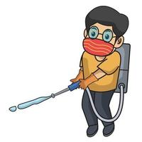 kid use disinfectant, active in farm using mask.character illustration. vector