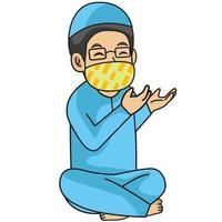 hombre musulmán o padre usa camisa azul, rezando en iftar. noche de Ramadán, usando máscara y protocolo saludable.Ilustración de personaje. vector