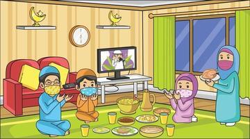 durante la pandemia del virus corona, rezando comida iftar ramadán con la familia. Quédate en casa con el mes de Ramadán. Actividad musulmana y reza. vector