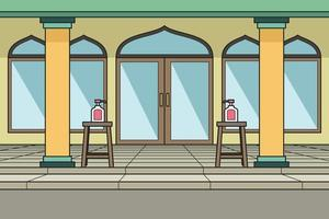 The Courtyard of The Mosque With Hand Sanitizer in Front of The Door. Vector. Children Book. vector