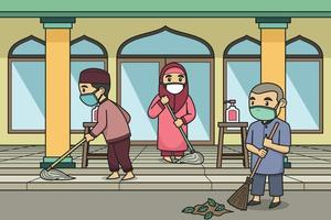 Children Cleaning the Mosque Yard Wearing Face Masks. Vector. Children Book. vector
