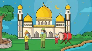 During the corona pandemic, muslim in mosque courtyard starry night at ramadan month. Muslim activity and pray. donation zakat, using masks and health protocols. Book illustration. vector