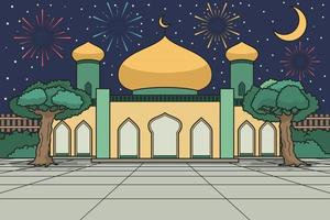 Mosque Courtyard With Moonlight And Fireworks on Background. Vector Illustration. Children Book Illustration.