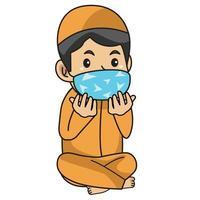 niño musulmán usa camisa naranja, rezando en iftar. noche de Ramadán, usando máscara y protocolo saludable.Ilustración de personaje. vector
