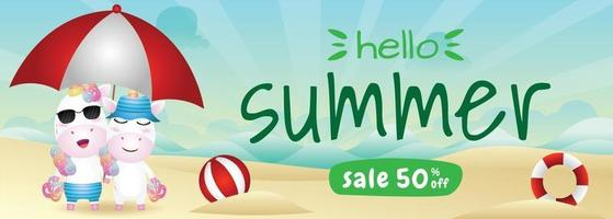 summer sale banner with a cute unicorn couple using umbrella in beach vector