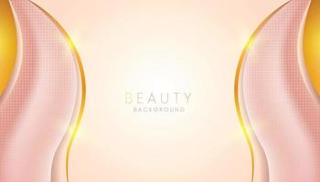 pink beauty background banner with golden lines vector