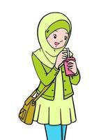 Asian Trendy Muslim Girl drinking vector