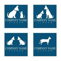 Cat and Dog vector silhouettes logo template