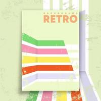 Retro design poster with vintage grunge texture and colored lines. Vector illustration.