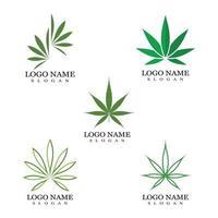 Cannabis marijuana hemp leaf logo and symbol vector