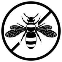 signo de avispa no insecto. silueta de avispa negra. un insecto que pica. diseño plano vector
