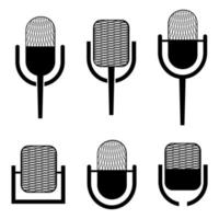 Microphone icon. Set of  microphones in black color and in simple flat style vector