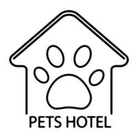 Pet hotel, logo design template. Logotype of pets hotel in outline style. Symbol of dog or cat home with icon of paw inside, isolated on white background vector