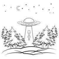 UFO. Outline flying spaceship with alien. UFO in night sky inside black forest in outline style. Flying saucer. Alien space ship, isolated on white background vector