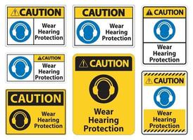 Caution Wear hearing protection sign on white background vector