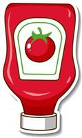 A sticker template with a ketchup bottle vector