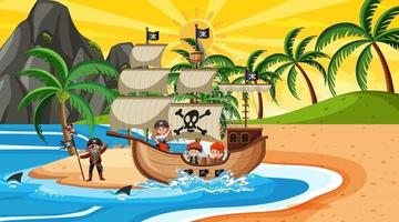 Beach at sunset time scene with pirate kids cartoon character on the ship vector